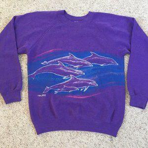 San Segal Purple Sparkle Dolphin Pullover